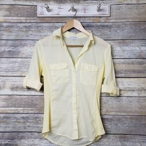James Perse Yellow Button Down Top Roll Tab Sleeve